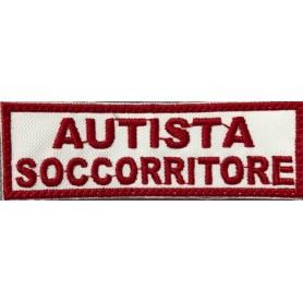 """QUALIFICA """"AUTISTA SOCCORRITORE"""" 10X3,2 RICAMATA CON VELCRO"""