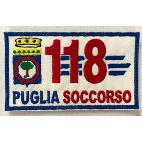 """TOPPA """"118 PUGLIA SOCCORSO"""" 10X6 RICAMATA CON VELCRO"""