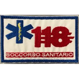 """TOPPA """"118 SOCCORSO SANITARIO"""" 10X6 RICAMATA CON VELCRO"""