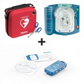 Defibrillatore HS1 per adulti + Batteria + Cartuccia elettrodi adulto + Valigetta