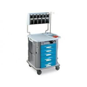 CARRELLO MEDICAZIONE AURION - azzurro - 5 cassetti